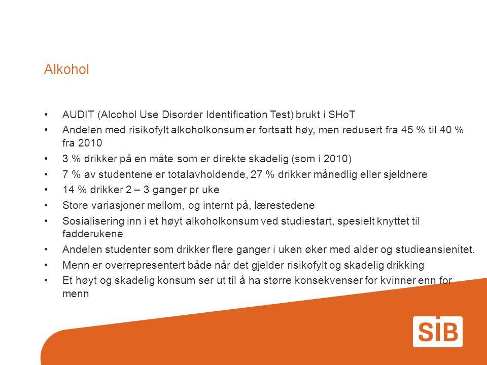 Alkohol AUDIT (Alcohol Use Disorder Identification Test) brukt i SHoT Andelen med risikofylt alkoholkonsum er fortsatt høy, men redusert fra 45 % til 40 % fra 2010 3 % drikker på en måte som er direkte skadelig (som i 2010) 7 % av studentene er totalavholdende, 27 % drikker månedlig eller sjeldnere 14 % drikker 2 – 3 ganger pr uke Store variasjoner mellom, og internt på, lærestedene Sosialisering inn i et høyt alkoholkonsum ved studiestart, spesielt knyttet til fadderukene Andelen studenter som drikker flere ganger i uken øker med alder og studieansienitet.