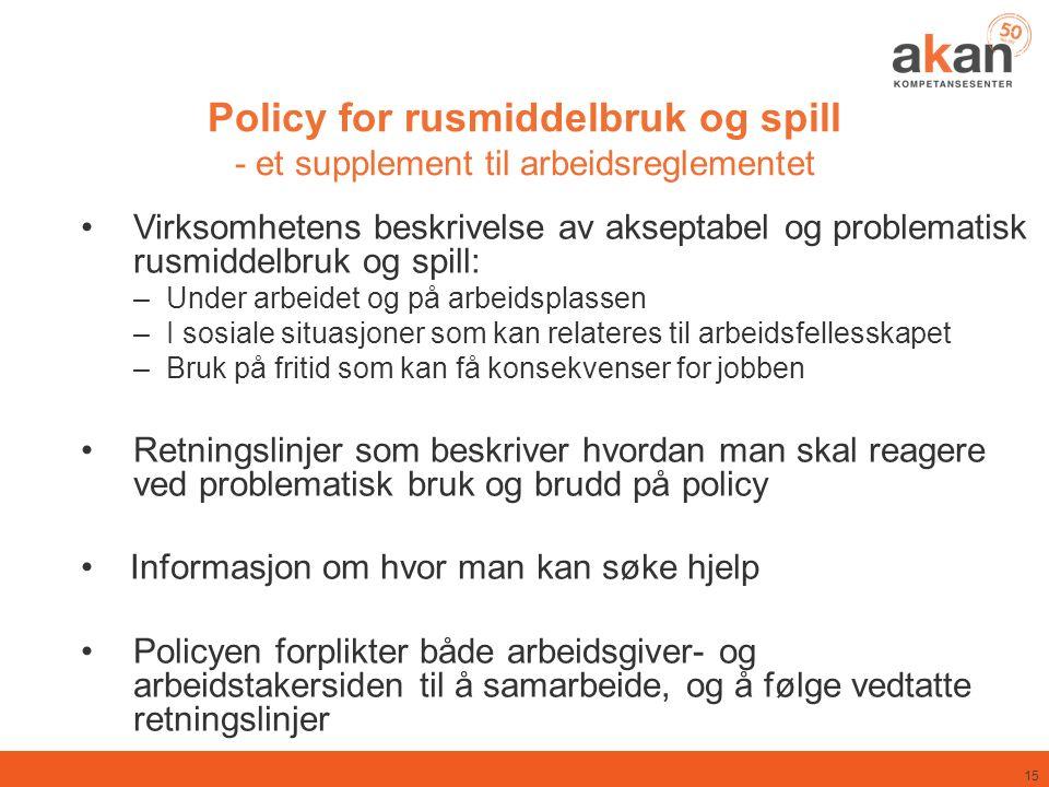 Policy for rusmiddelbruk og spill - et supplement til arbeidsreglementet Virksomhetens beskrivelse av akseptabel og problematisk rusmiddelbruk og spil