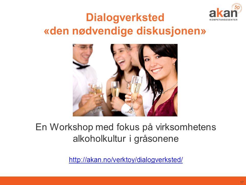 Dialogverksted «den nødvendige diskusjonen» En Workshop med fokus på virksomhetens alkoholkultur i gråsonene http://akan.no/verktoy/dialogverksted/ 17