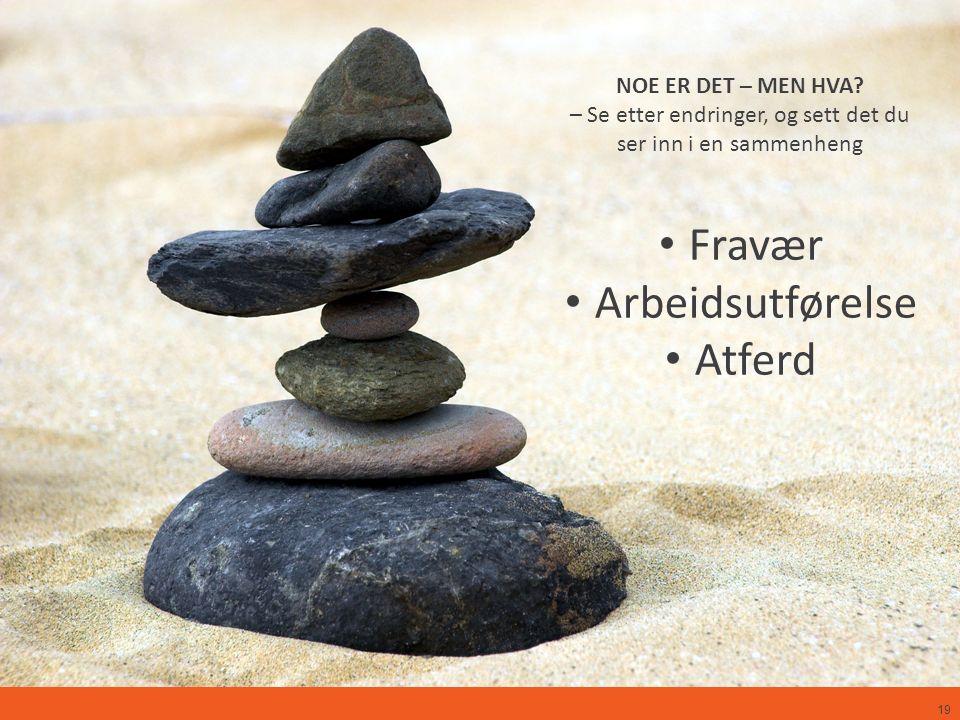 19 NOE ER DET – MEN HVA? – Se etter endringer, og sett det du ser inn i en sammenheng Fravær Arbeidsutførelse Atferd