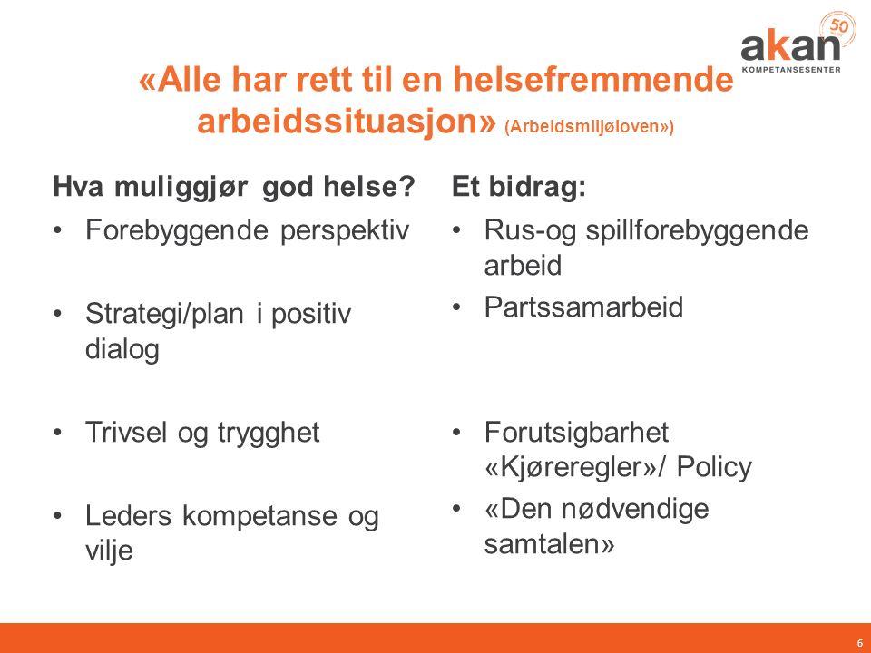 «Alle har rett til en helsefremmende arbeidssituasjon» (Arbeidsmiljøloven») Hva muliggjør god helse? Forebyggende perspektiv Strategi/plan i positiv d