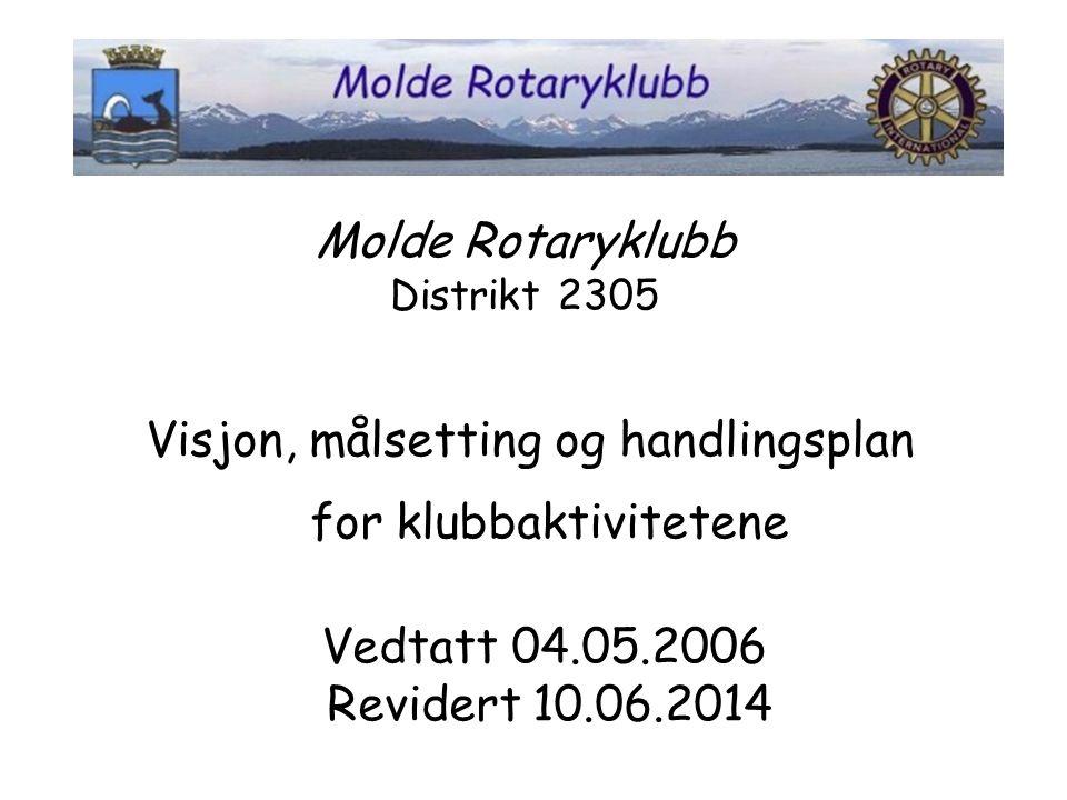 Visjon: I Molde Rotary er det møtelyst, ikke møteplikt som sørger for det gode oppmøtet Overordnet mål: Oppmøtet skal være minst 50% Minimum 3 nye medlemmer pr år.