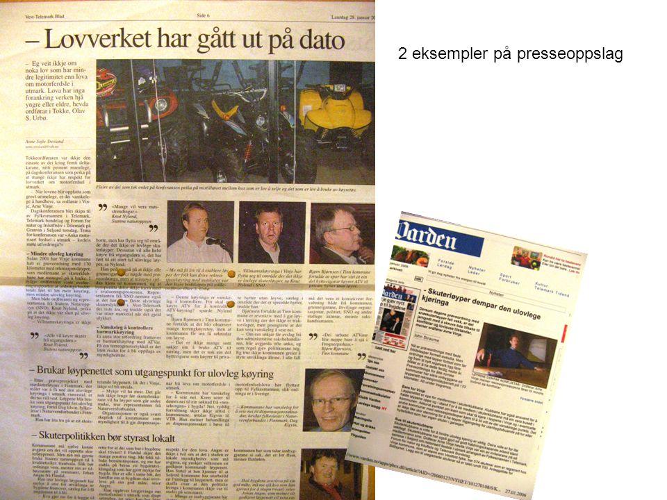 2 eksempler på presseoppslag