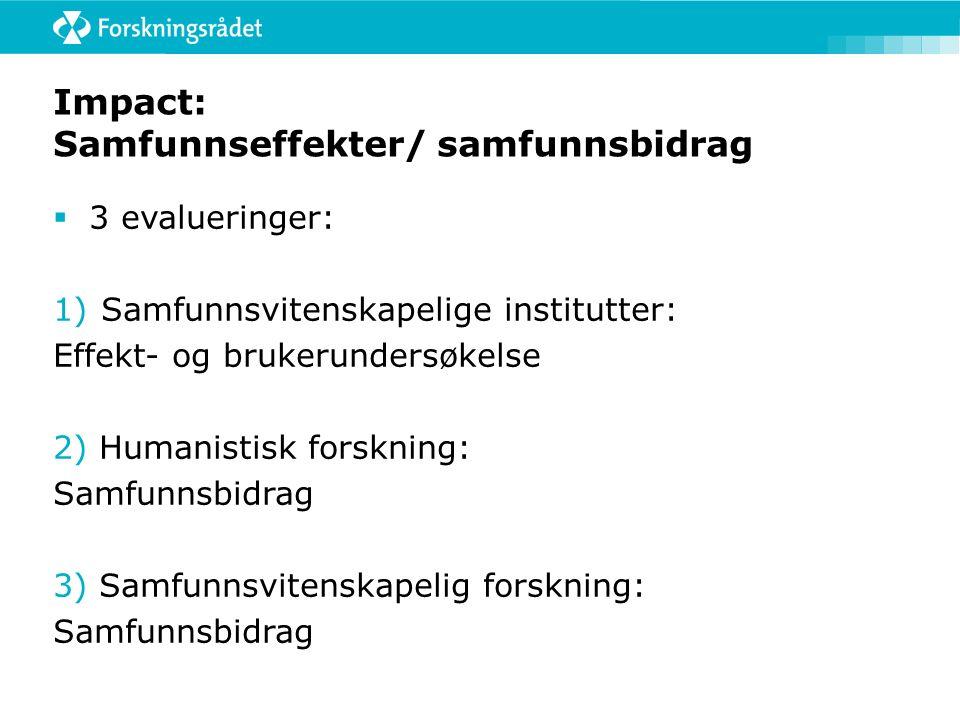 Impact: Samfunnseffekter/ samfunnsbidrag  3 evalueringer: 1)Samfunnsvitenskapelige institutter: Effekt- og brukerundersøkelse 2) Humanistisk forsknin