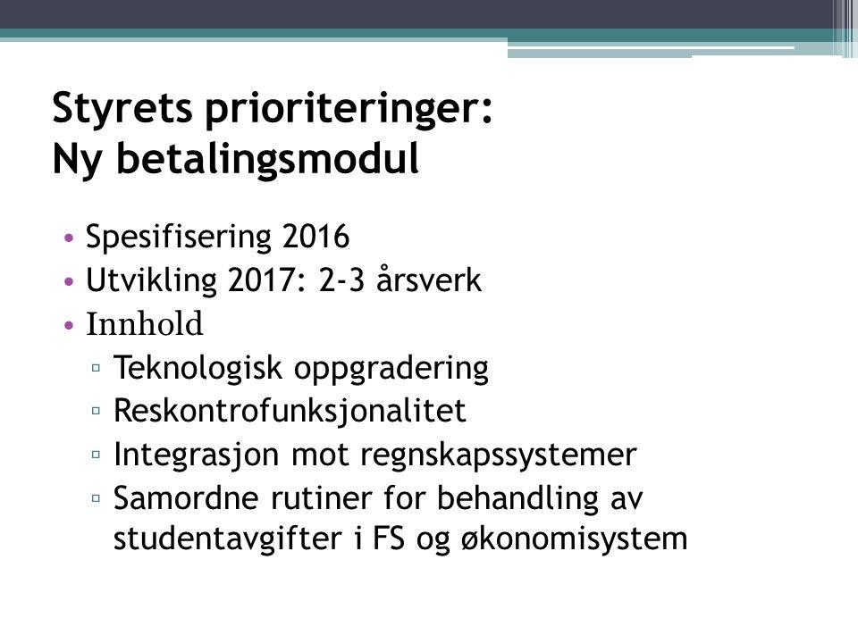 Styrets prioriteringer: Ny betalingsmodul Spesifisering 2016 Utvikling 2017: 2-3 årsverk Innhold ▫ Teknologisk oppgradering ▫ Reskontrofunksjonalitet