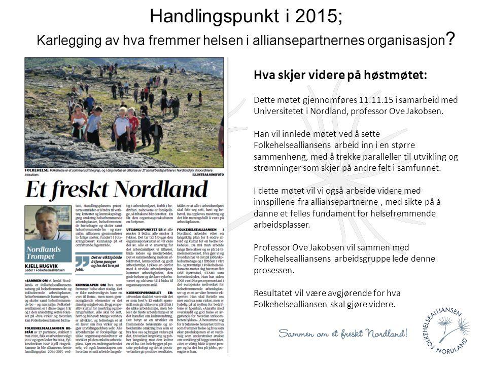 Handlingspunkt i 2015; Karlegging av hva fremmer helsen i alliansepartnernes organisasjon .