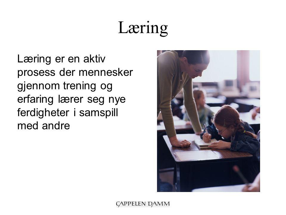 Læring Læring er en aktiv prosess der mennesker gjennom trening og erfaring lærer seg nye ferdigheter i samspill med andre