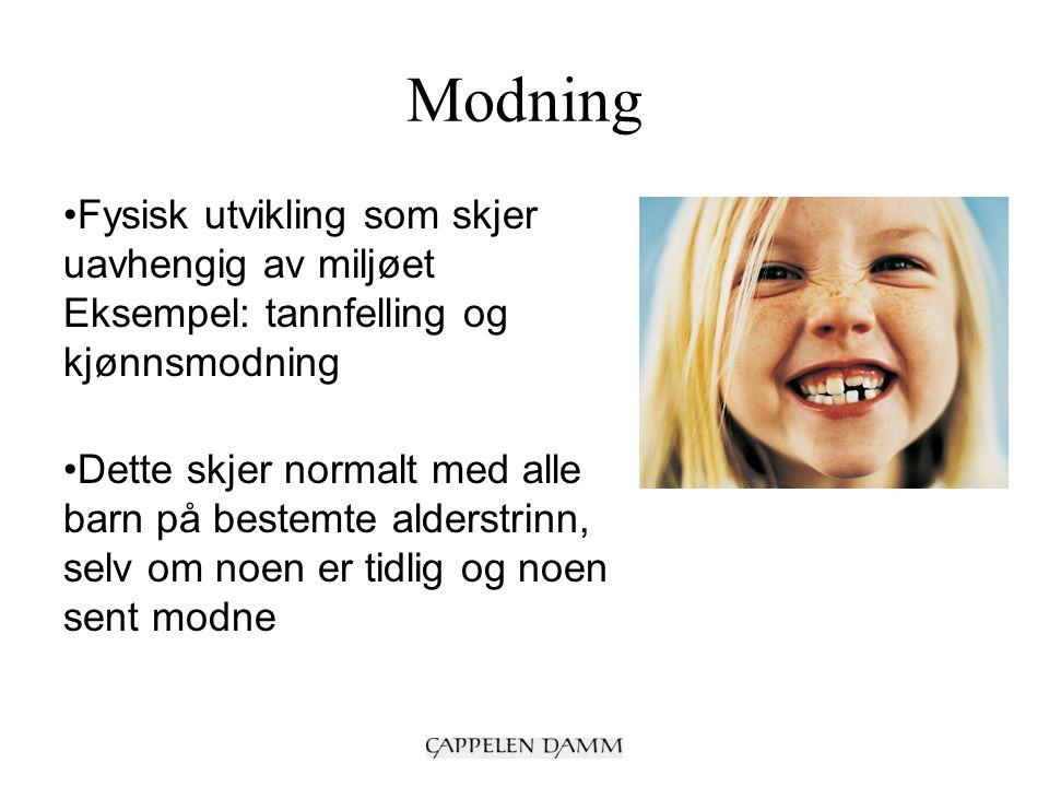 Alder og modenhet Hva et barn er i stand til å lære, er avhengig av alder og modenhet (jf.