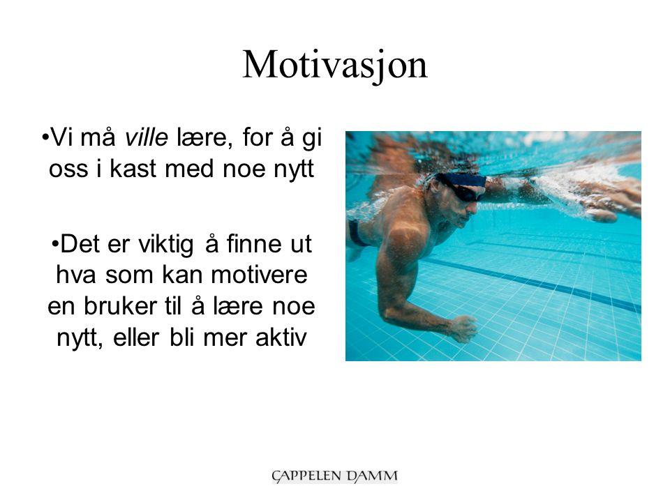 Motivasjon Vi må ville lære, for å gi oss i kast med noe nytt Det er viktig å finne ut hva som kan motivere en bruker til å lære noe nytt, eller bli mer aktiv