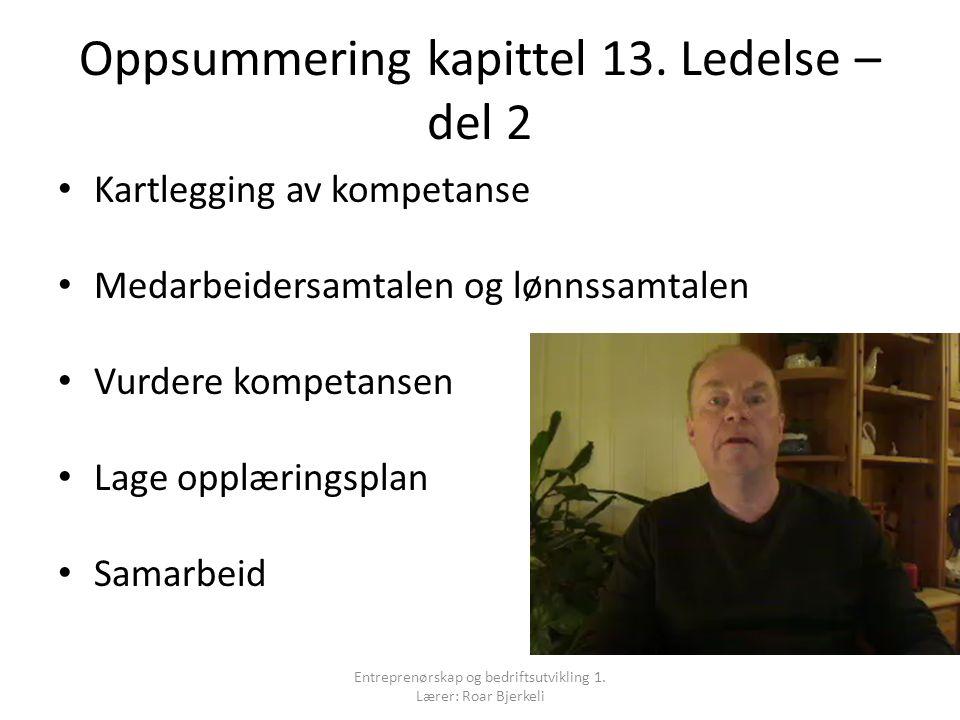 Oppsummering kapittel 13.