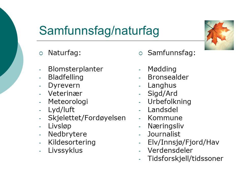 Samfunnsfag/naturfag  Naturfag: - Blomsterplanter - Bladfelling - Dyrevern - Veterinær - Meteorologi - Lyd/luft - Skjelettet/Fordøyelsen - Livsløp -