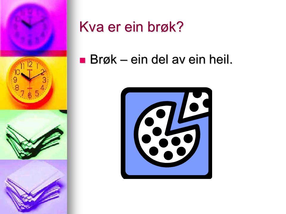 Kva er ein brøk? Brøk – ein del av ein heil. Brøk – ein del av ein heil.