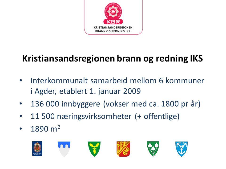 Kristiansandsregionen brann og redning IKS Interkommunalt samarbeid mellom 6 kommuner i Agder, etablert 1.