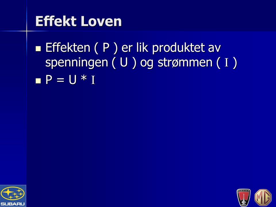 Effekt Loven Effekten ( P ) er lik produktet av spenningen ( U ) og strømmen ( I ) Effekten ( P ) er lik produktet av spenningen ( U ) og strømmen ( I ) P = U * I P = U * I
