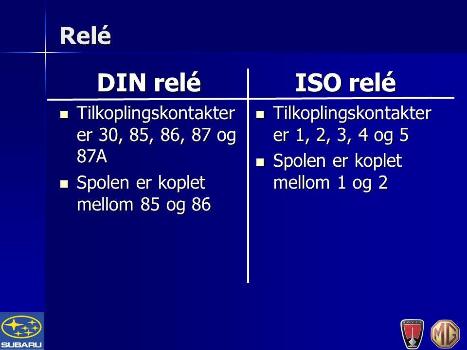 Relé DIN relé Tilkoplingskontakter er 30, 85, 86, 87 og 87A Tilkoplingskontakter er 30, 85, 86, 87 og 87A Spolen er koplet mellom 85 og 86 Spolen er koplet mellom 85 og 86 ISO relé Tilkoplingskontakter er 1, 2, 3, 4 og 5 Tilkoplingskontakter er 1, 2, 3, 4 og 5 Spolen er koplet mellom 1 og 2 Spolen er koplet mellom 1 og 2