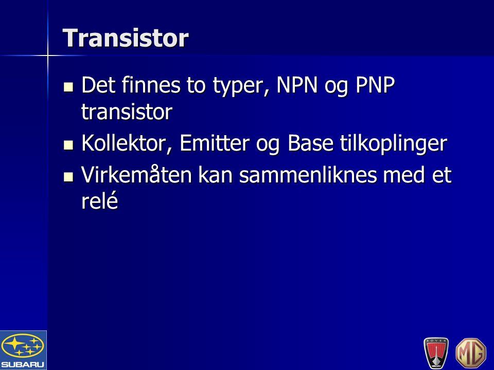 Transistor Det finnes to typer, NPN og PNP transistor Det finnes to typer, NPN og PNP transistor Kollektor, Emitter og Base tilkoplinger Kollektor, Emitter og Base tilkoplinger Virkemåten kan sammenliknes med et relé Virkemåten kan sammenliknes med et relé