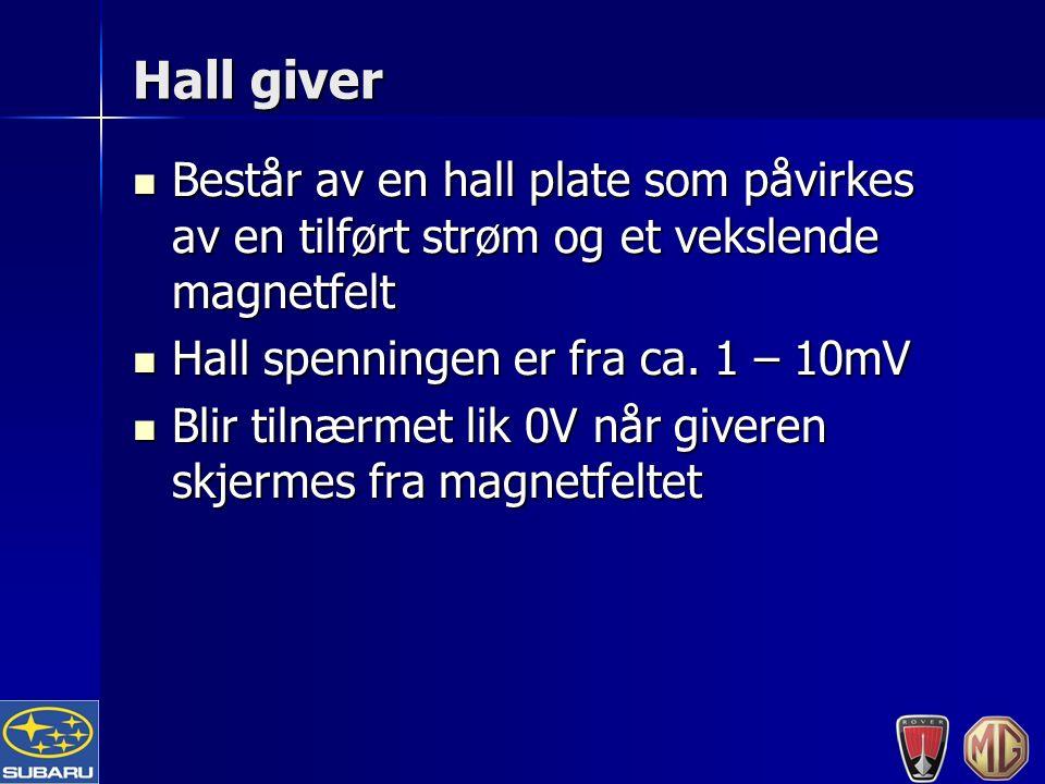 Hall giver Består av en hall plate som påvirkes av en tilført strøm og et vekslende magnetfelt Består av en hall plate som påvirkes av en tilført strøm og et vekslende magnetfelt Hall spenningen er fra ca.