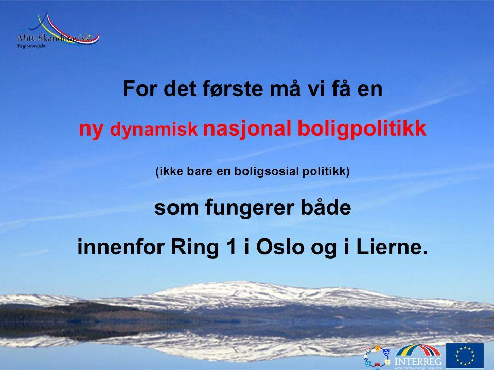 For det første må vi få en ny dynamisk nasjonal boligpolitikk (ikke bare en boligsosial politikk) som fungerer både innenfor Ring 1 i Oslo og i Lierne.