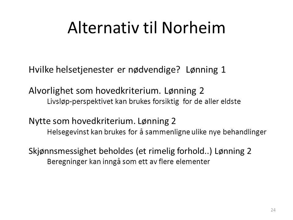 Alternativ til Norheim Hvilke helsetjenester er nødvendige.