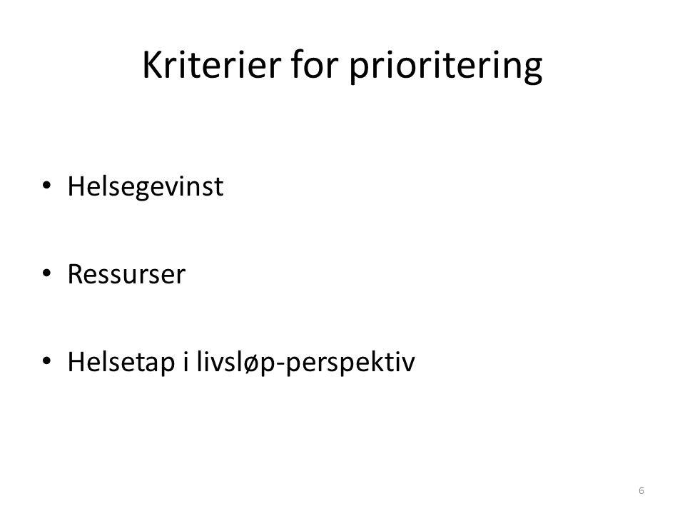 Kriterier for prioritering Helsegevinst Ressurser Helsetap i livsløp-perspektiv 6