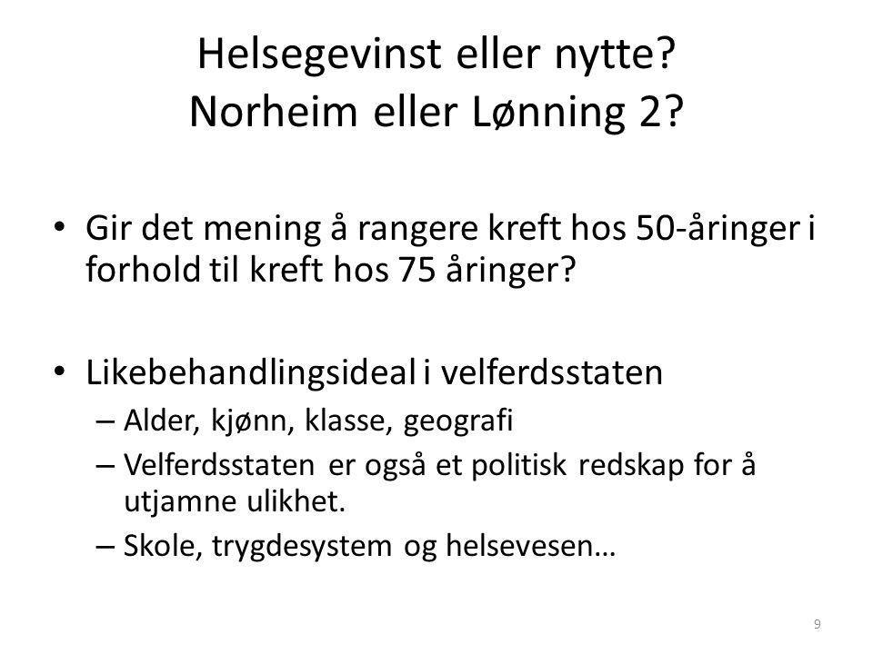 Helsegevinst eller nytte. Norheim eller Lønning 2.