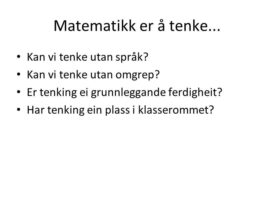 Matematikk er å tenke... Kan vi tenke utan språk.