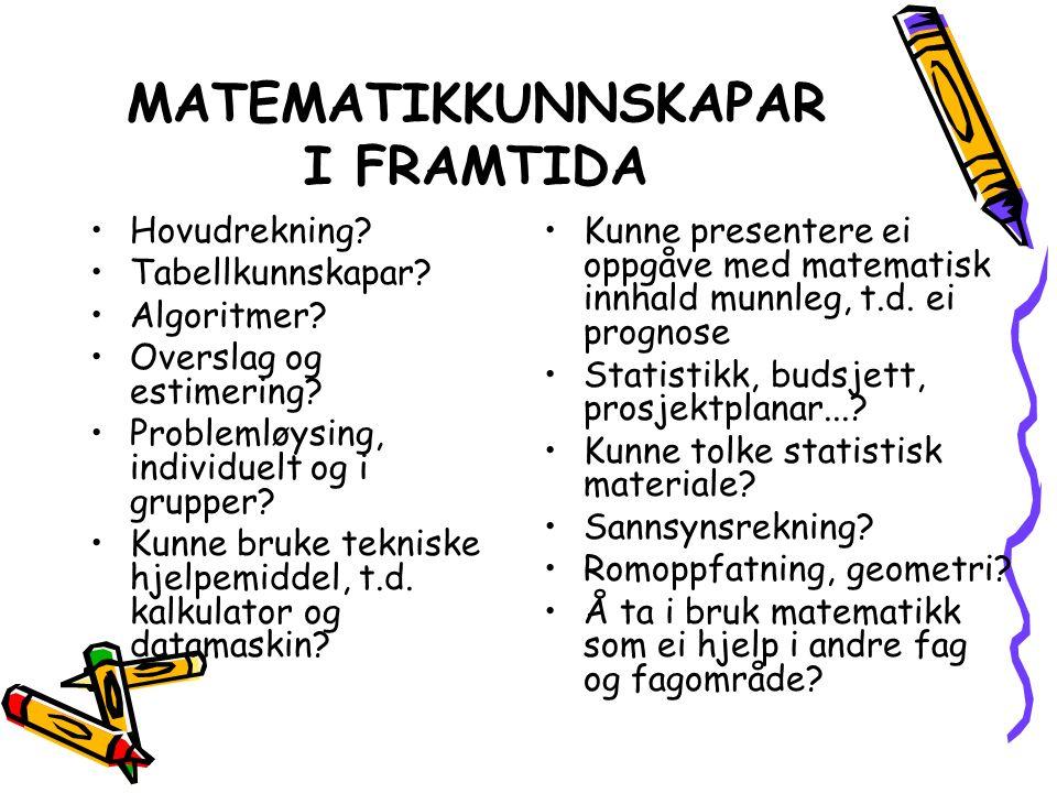 MATEMATIKKUNNSKAPAR I FRAMTIDA Hovudrekning. Tabellkunnskapar.