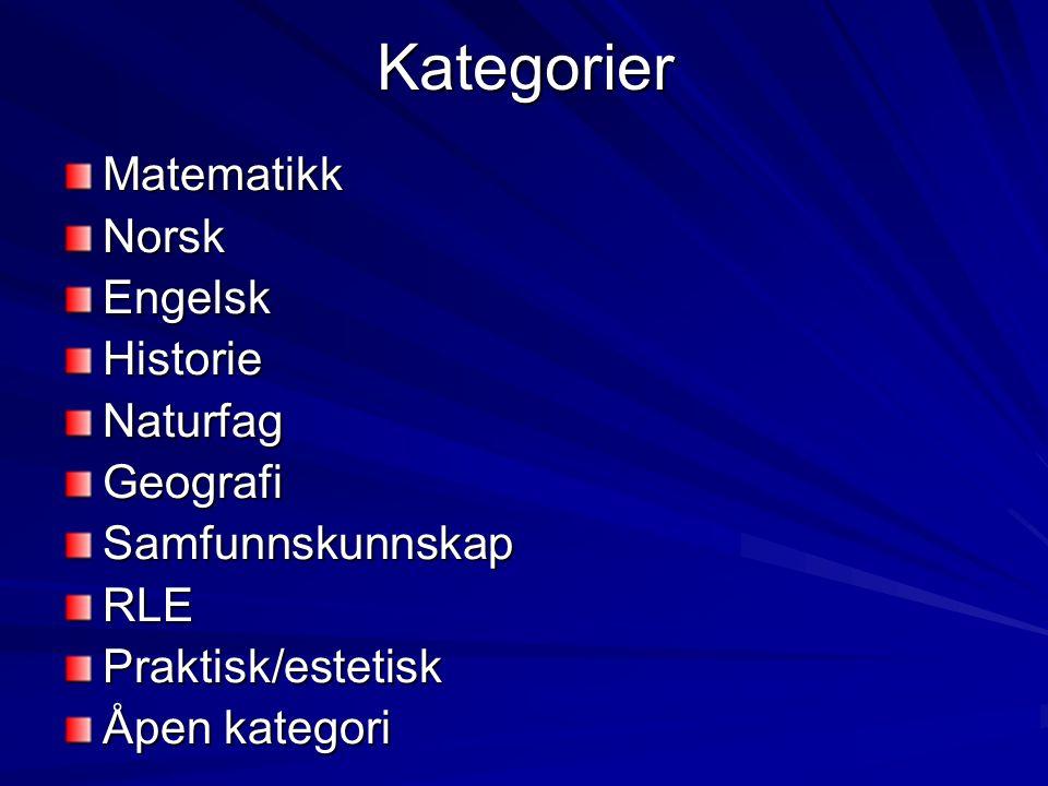 KategorierMatematikkNorskEngelskHistorieNaturfagGeografiSamfunnskunnskapRLEPraktisk/estetisk Åpen kategori