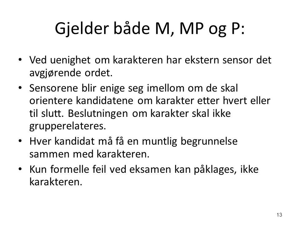 Gjelder både M, MP og P: Ved uenighet om karakteren har ekstern sensor det avgjørende ordet.