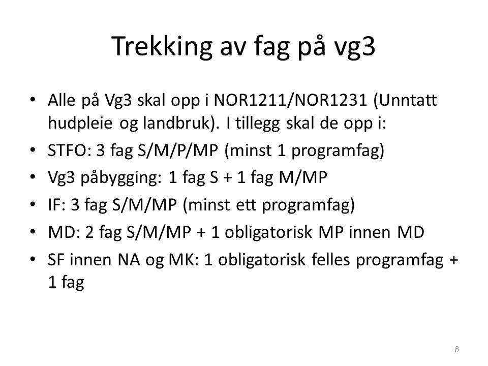 Trekking av fag på vg3 Alle på Vg3 skal opp i NOR1211/NOR1231 (Unntatt hudpleie og landbruk).