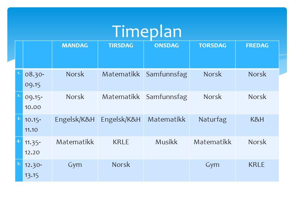 MANDAGTIRSDAGONSDAGTORSDAGFREDAG 1.08.30- 09.15 NorskMatematikkSamfunnsfag Norsk 2.