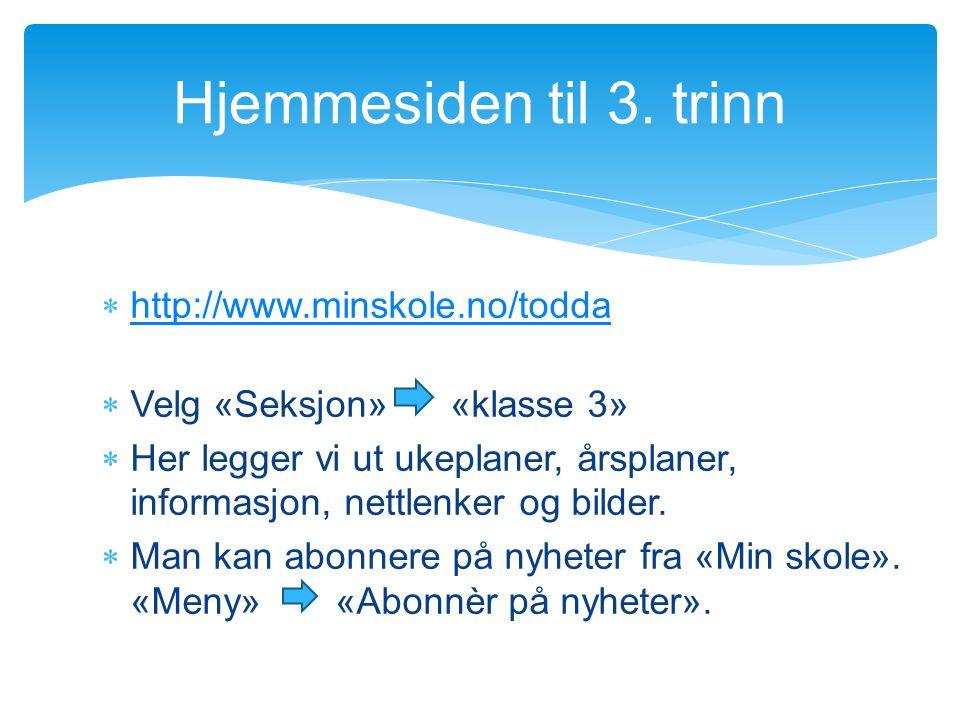  http://www.minskole.no/todda http://www.minskole.no/todda  Velg «Seksjon» «klasse 3»  Her legger vi ut ukeplaner, årsplaner, informasjon, nettlenker og bilder.