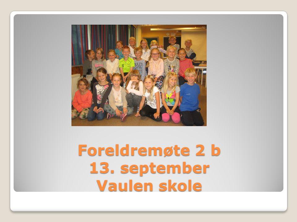 2B 21 elever Randi er kontaktlærer Bente er lærer i engelsk og tolærer i 2 norsk timer.