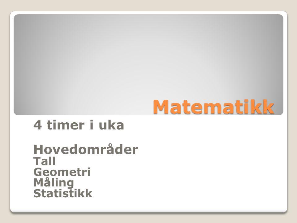 Matematikk 4 timer i uka Hovedområder Tall Geometri Måling Statistikk