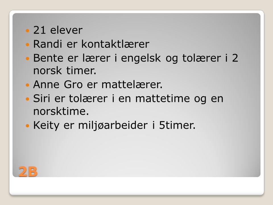 2B 21 elever Randi er kontaktlærer Bente er lærer i engelsk og tolærer i 2 norsk timer. Anne Gro er mattelærer. Siri er tolærer i en mattetime og en n