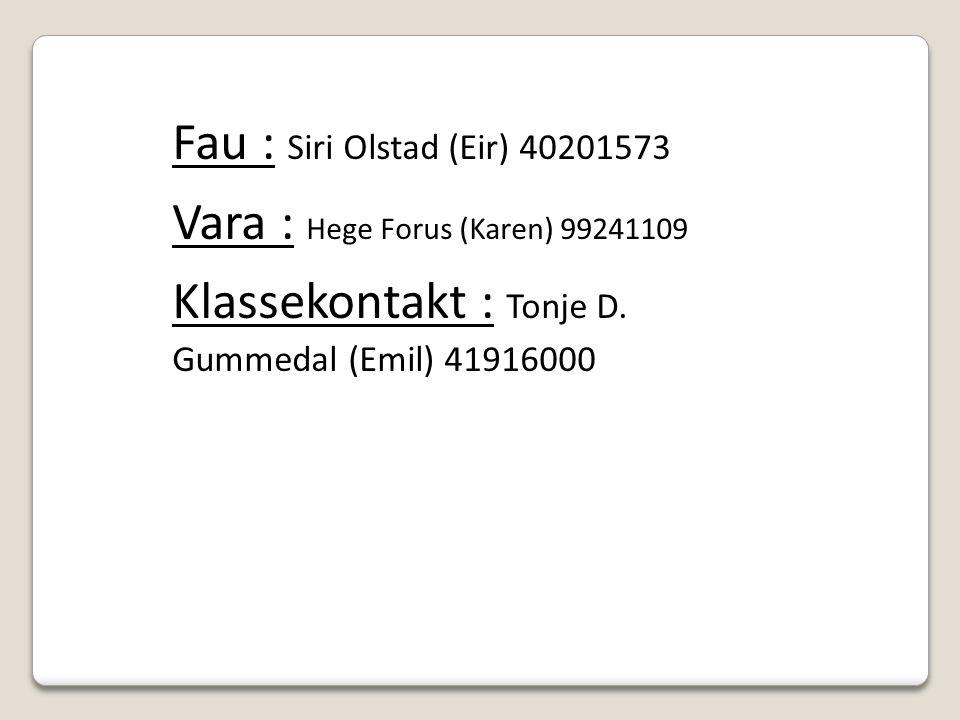 Fau : Siri Olstad (Eir) 40201573 Vara : Hege Forus (Karen) 99241109 Klassekontakt : Tonje D.