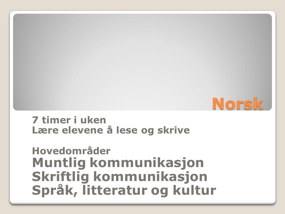 Norsk 7 timer i uken Lære elevene å lese og skrive Hovedområder Muntlig kommunikasjon Skriftlig kommunikasjon Språk, litteratur og kultur