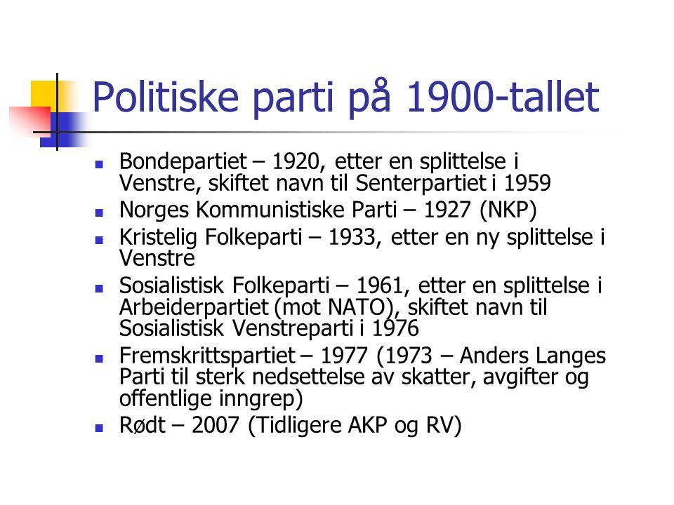 Politiske parti på 1900-tallet Bondepartiet – 1920, etter en splittelse i Venstre, skiftet navn til Senterpartiet i 1959 Norges Kommunistiske Parti – 1927 (NKP) Kristelig Folkeparti – 1933, etter en ny splittelse i Venstre Sosialistisk Folkeparti – 1961, etter en splittelse i Arbeiderpartiet (mot NATO), skiftet navn til Sosialistisk Venstreparti i 1976 Fremskrittspartiet – 1977 (1973 – Anders Langes Parti til sterk nedsettelse av skatter, avgifter og offentlige inngrep) Rødt – 2007 (Tidligere AKP og RV)