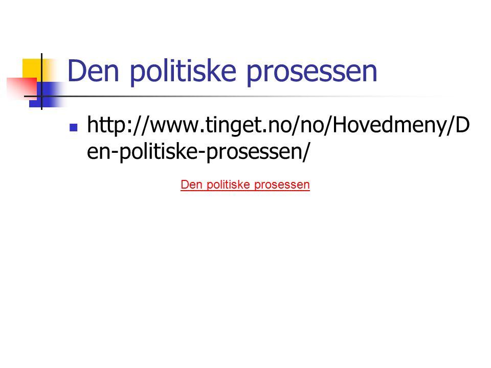 Den politiske prosessen http://www.tinget.no/no/Hovedmeny/D en-politiske-prosessen/ Den politiske prosessen