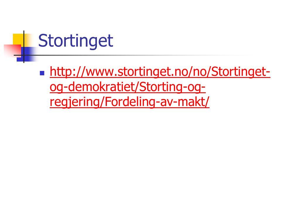 Stortinget http://www.stortinget.no/no/Stortinget- og-demokratiet/Storting-og- regjering/Fordeling-av-makt/ http://www.stortinget.no/no/Stortinget- og-demokratiet/Storting-og- regjering/Fordeling-av-makt/