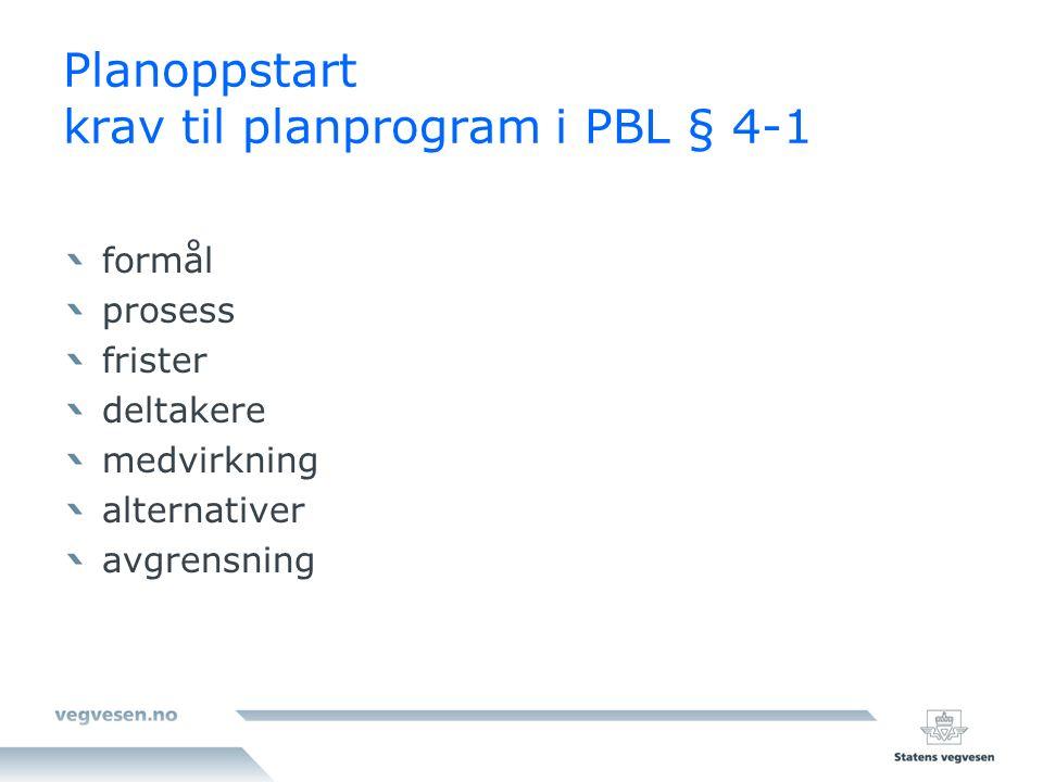 Planoppstart krav til planprogram i PBL § 4-1 formål prosess frister deltakere medvirkning alternativer avgrensning