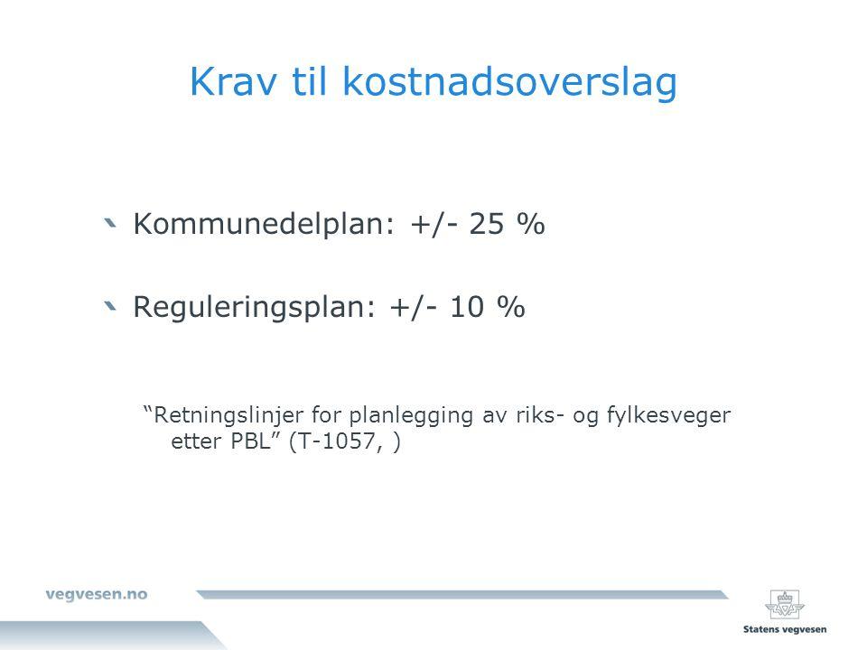 Krav til kostnadsoverslag Kommunedelplan: +/- 25 % Reguleringsplan: +/- 10 % Retningslinjer for planlegging av riks- og fylkesveger etter PBL (T-1057, )