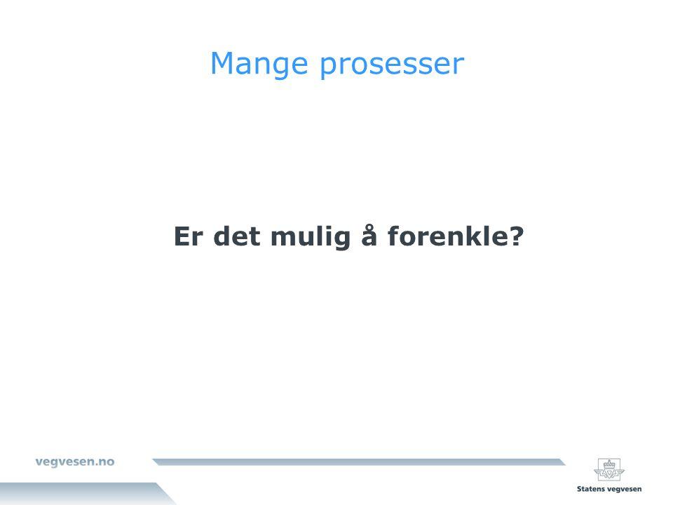 Tidsbruk for vegprosjekter - før første spadetak Plantype/prosessMin – normalt – max KVU/KS1 (prosjekter >500 mill kr) 0,5 år.