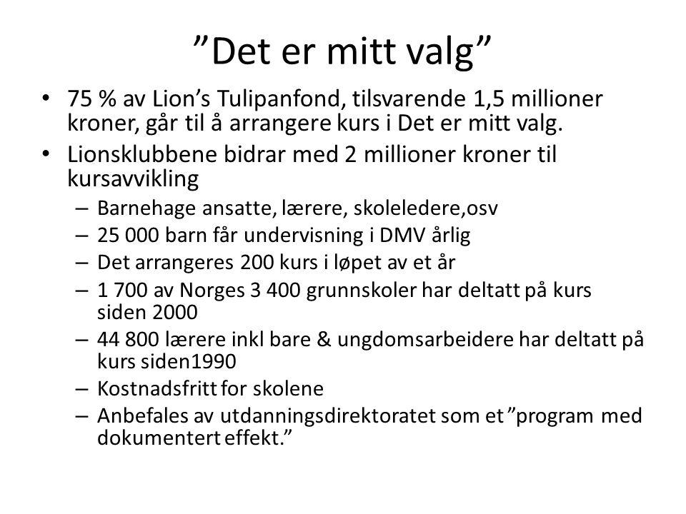 Det er mitt valg 75 % av Lion's Tulipanfond, tilsvarende 1,5 millioner kroner, går til å arrangere kurs i Det er mitt valg.