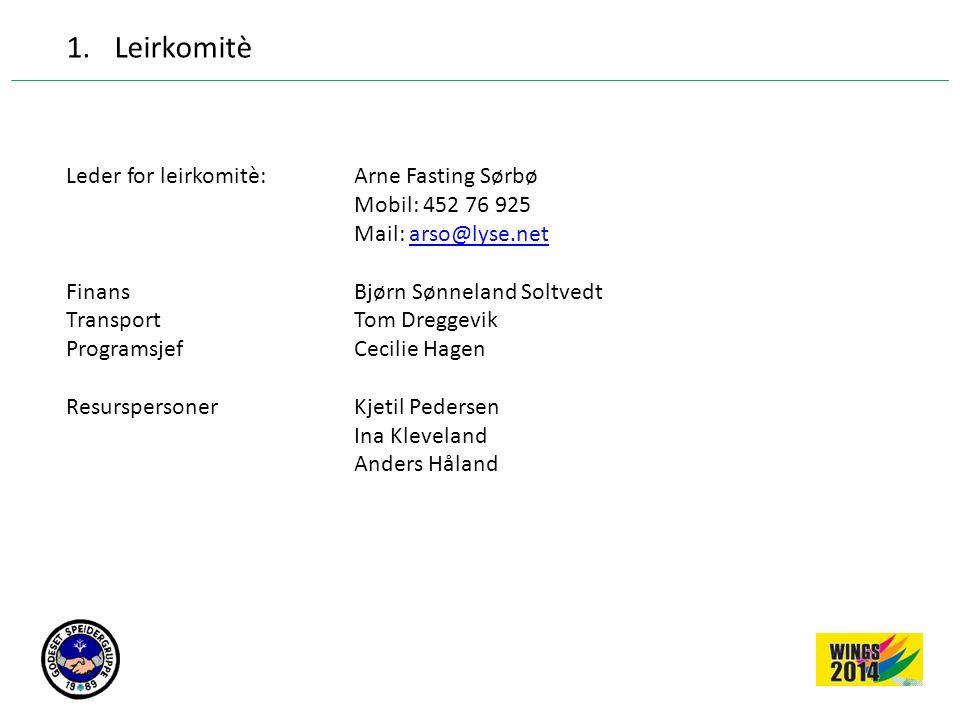 1.Leirkomitè Leder for leirkomitè: Arne Fasting Sørbø Mobil: 452 76 925 Mail: arso@lyse.netarso@lyse.net Finans Bjørn Sønneland Soltvedt TransportTom