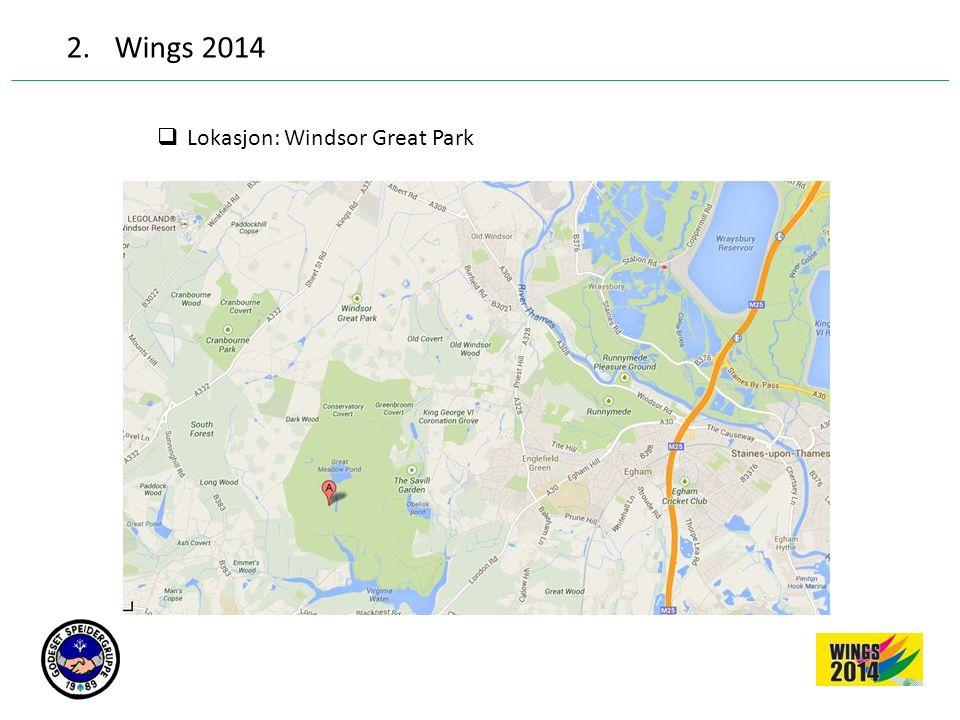 2.Wings 2014  Wings første leir var i 1993 med 2700 speidere fra 20 forskjellige land  Wings forventer at leiren i 2014 skal huse 7500 speidere.