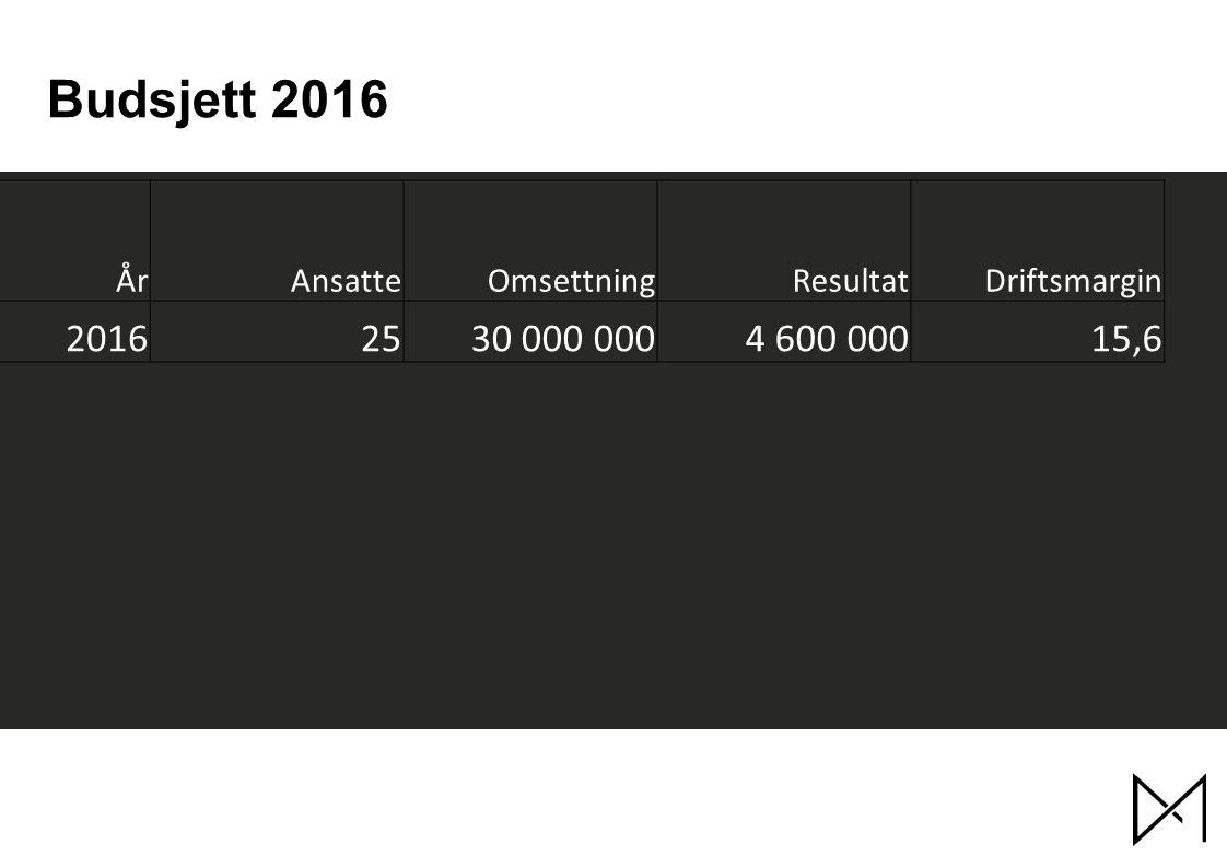 Budsjett 2016 ÅrAnsatteOmsettningResultatDriftsmargin 20162530 000 0004 600 00015,6