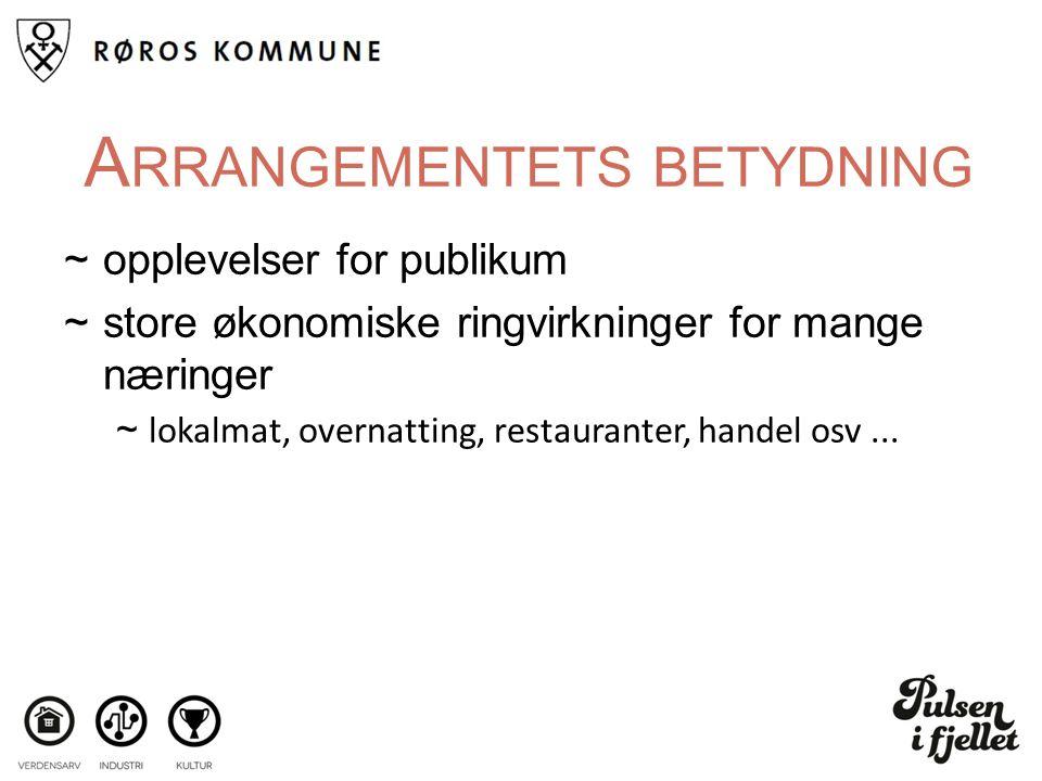 A RRANGEMENTETS BETYDNING ~opplevelser for publikum ~store økonomiske ringvirkninger for mange næringer ~lokalmat, overnatting, restauranter, handel osv...
