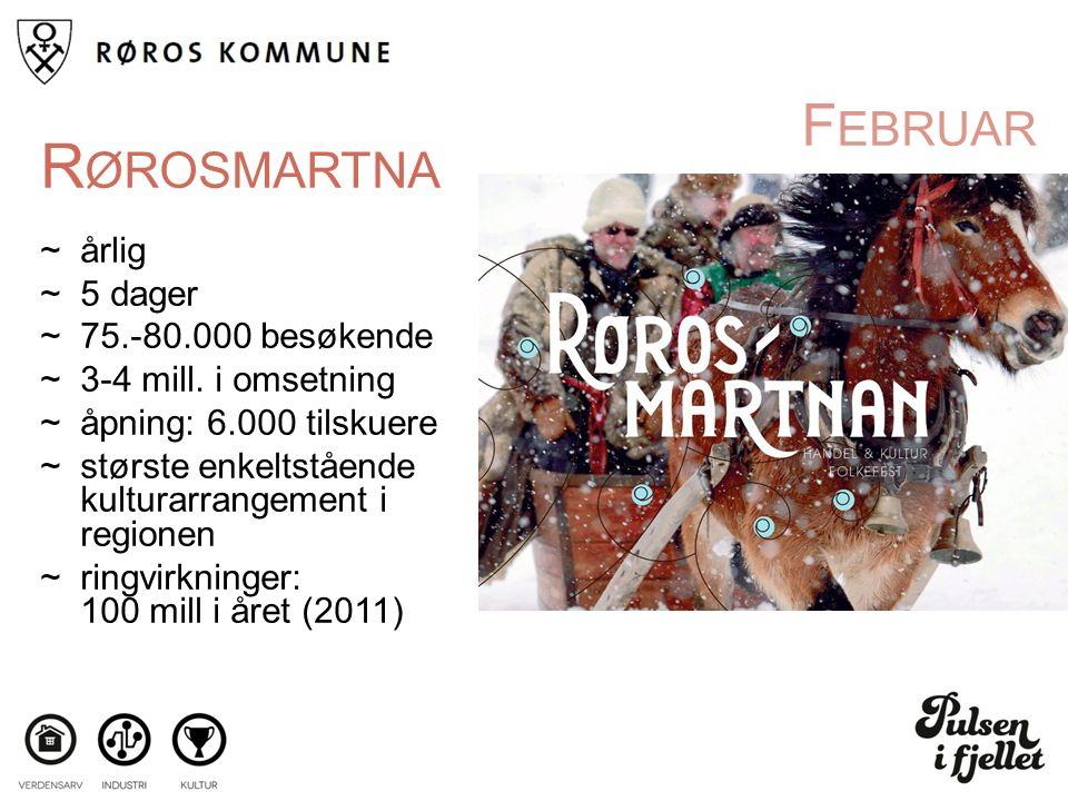 F EBRUAR R ØROSMARTNA ~årlig ~5 dager ~75.-80.000 besøkende ~3-4 mill.