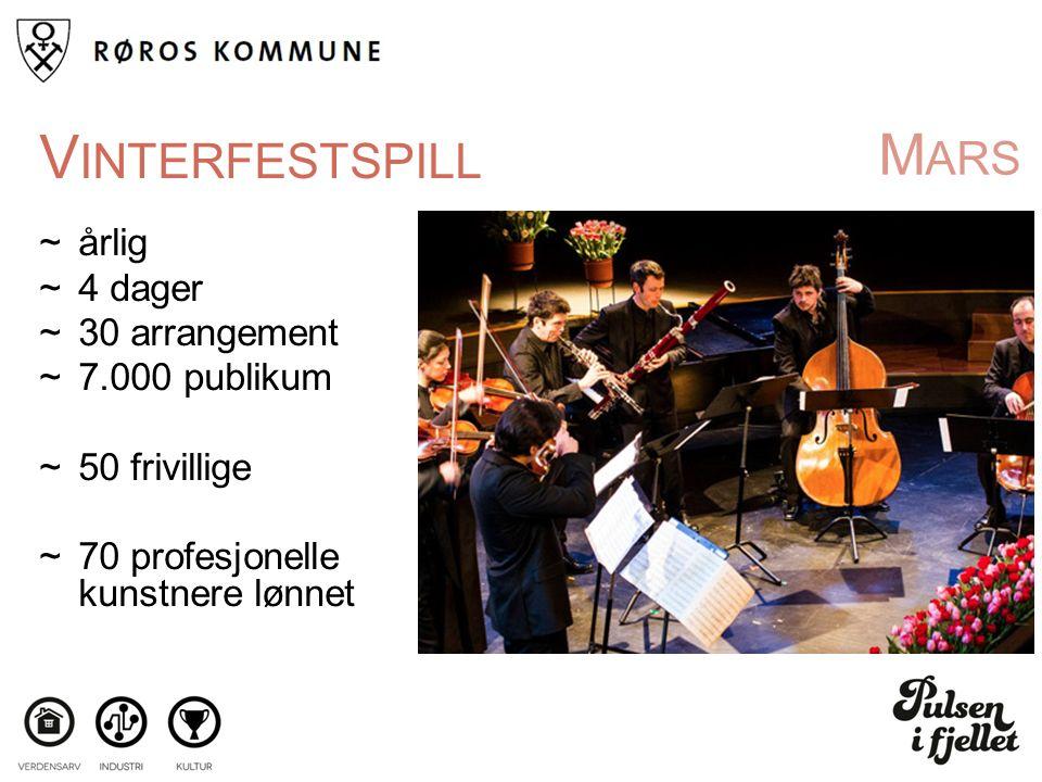 M ARS V INTERFESTSPILL ~årlig ~4 dager ~30 arrangement ~7.000 publikum ~50 frivillige ~70 profesjonelle kunstnere lønnet